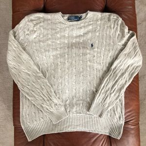 Polo by Ralph Lauren Cable Sweater 100% Silk XL